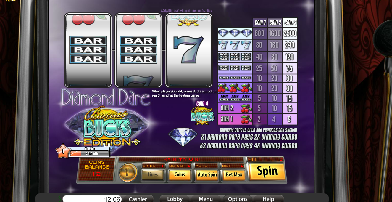 Play Diamond Dare Bonus Bucks - USA and International Players Welcome