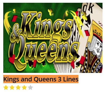 Black Diamond Kings and Queens 3 Lines @ http://mobilecasinogame.info