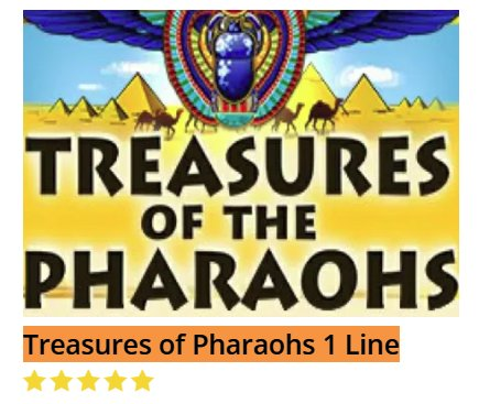 Black Diamond Treasures Of Pharaohs 1 Line @ http://mobilecasinogame.info