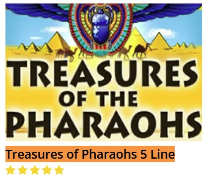 Black Diamond Treasures Of Pharaohs 5 Line @ http://mobilecasinogame.info